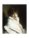 Portrait of a Young Girl in White Giclee Print by Gustave Jacquet