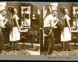 'Oh! You'Re a Peach', Humorous Stereoscopic Card Depicting a Young Woman Being Laced into a… Photographic Print by  Keystone View Company