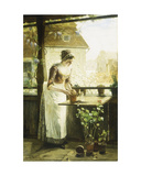Woman Potting Flowers, 1890 Giclee Print by C. Hendrick Nordenberg