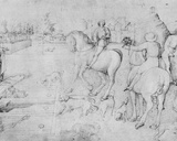 The Three Dead Men and the Three Living Men, from the Jacopo Bellini's Album of Drawings Photographic Print by Jacopo Bellini