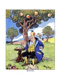 Isaac Newton Discovers Gravity, 1936 Giclee Print by René Bull