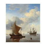 A Calm - a Smalschip and a Kaag at Anchor with an English Man-O'-War Beyond Giclée-Druck von Willem Van De, The Younger Velde
