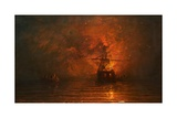Ship on Fire, 1873 Giclee Print by James Francis Danby