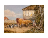 Cows in a Farmyard Giclee Print by George The Younger Barret