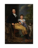 Portrait of a Prominent Gentleman with His Daughter and a Hunting Dog Giclee Print by Joseph Denis Odevaere