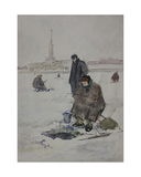 Ice Fishing in Leningrad, C.1950s Giclee Print by Masabikh Akhunov