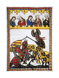 Walter Von Klingen (1240-1286), Defeats Another Knight in a Tournament. Codex Manesse (Ca.1300) Lámina giclée