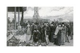 A London Fair Day at the Metropolitan Cattle Market Giclee Print by Charles Green