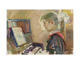 Pioneer Girl Playing the Piano, 1950s Giclee Print by Konstantin Lekomtsev