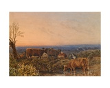 Cows Watering at a Pool, Sunset, C.1835 Giclee Print by George The Younger Barret