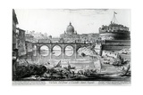 View of the Bridge and Castel Sant'Angelo, from the 'Views of Rome' Series, C.1760 Giclee Print by Giovanni Battista Piranesi