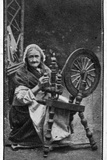 Elderly Irish Woman at Her Spinning Wheel, from a Late 19th Century Photograph Photographic Print