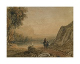 A Landscape with a Lake and Two Figures, One on Horseback Giclee Print by George The Younger Barret