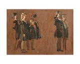 Singing Girls in School Uniform, 1950s Giclee Print by Konstantin Lekomtsev