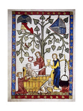 Ladies Preparing the Bath of Poet Jakob Von Warte. Codex Manesse (Ca.1300) Giclee Print