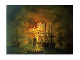 The Destruction of the Turkish Fleet at the Bay of Chesma, 1772 Giclee Print by Jacob-Philippe Hackert