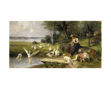Woman and Geese Giclee Print by Adolf Ernst Meissner
