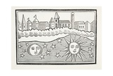 Sun, Moon, Stars and Earth Transposed, Illustration from 'Chap-Books of the Eighteenth Century'… Giclee Print