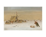A Winter Landscape with Figures on the Ice by a Koek-En-Zopie Tent Giclee Print by Hendrik Avercamp