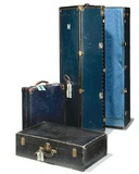 Princess Margaret's Blue-Painted Travelling Wardrobe Trunk, Together with a Matching Travelling… Photographic Print