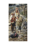 Children with Turkeys Giclee Print by Vicenzo Irolli