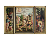 The Sermon, Stoning and Entombment of St. Stephen, from the Polyptych of St. Stephen and St.… Giclee Print by Jan van Scorel