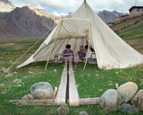 Weaver on Handloom in Tent on Edge of Remote Village in Himalayan Landscape, Pishu, Zanskar River… Photographic Print