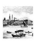 Wharfs on the River Thames, St. Benet's to Nicholson's Wharf Giclee Print