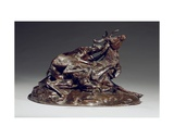 Stag Brought Down by Two Greyhounds Giclee Print by Antoine Louis Barye