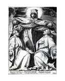 Madonna Protecting Two Members of a Confraternity, Print Made by Horatio Bertelli, 1582 Giclee Print by Agostino Carracci