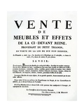 Poster Advertising the Sale of Marie-Antoinette's Furniture and Effects on the 25th August, 1793 Giclee Print