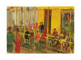 Summer Cafe on Petrovka Street, Moscow, 1960s Giclee Print by Natalia Aleksandrovna Gippius