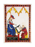 Konrad Von Wurzburg, Who Died in 1287, Dictates to a Scribe. Fol. 383R. Codex Manesse (Ca.1300) Giclee Print