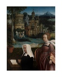 Detail of Donor with Saint Nicholas and Donor's Wife with Saint Godeliva, C.1515-21 Giclee Print by Jan Provoost