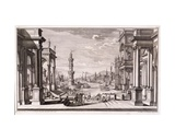 Small Harbour with Baroque Style Columns, from 'Architectus Theatralis Primarius', Published 1740 Giclee Print by Giuseppe Bibiena