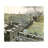 Bridge across the Thames Constructed by the Romans Giclee Print by Peter Jackson