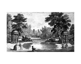 A View of the Grotto and Two Shell Temples, Stowe House Gardens, Engraved by George Bickham, 1753 Giclee Print by Jean Baptiste Claude Chatelain