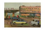 Petrol Station in Soviet Moscow, 1960s Giclée-Druck von Natalia Aleksandrovna Gippius