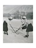 Girls Playing Ice Hockey in Chamonix. France. 1908 Giclee Print