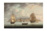 Funchal Roadstead, H.M.S. Blenheim with Greyhound and Harrier Outward Bound, 1805 Giclee Print by Thomas Butterworth