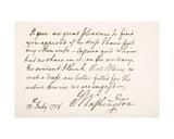 Handwriting and Signature of George Washington, 1758 Giclee Print