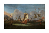 King William III Off the Coast of Ireland, June 1690 Giclee Print by Willem van der Hagen