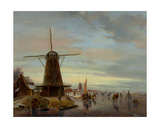 Skaters on a Frozen Waterway Giclee Print by Nicholas Jan Roosenboom