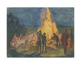 Pioneers by the Campfire, 1950s Giclee Print by Natalia Aleksandrovna Gippius