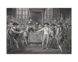Oliver Cromwell Dissolving the Long Parliament, 1653, Engraved by A.H. Payne Giclee Print by Benjamin West