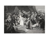 The Surrender of Calais, 4th August 1347, Engraved by John Young Giclee Print by Edward Bird