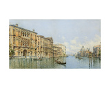 A View of the Grand Canal with Palazzo Cavalli-Franchetti and Santa Maria Della Salute Giclee Print by Gino de Colle