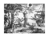 The Indians Astonished at the Eclipse of the Moon Foretold by Columbus, Illustration from 'A New… Giclee Print