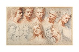 Thirteen Studies Based on a Roman Imperial Head Giclee Print by Arnold Or Artus The Elder Quellin I