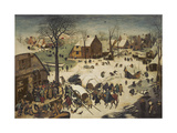 The Census at Bethlehem, 1566 Gicleetryck av Pieter Bruegel the Elder
